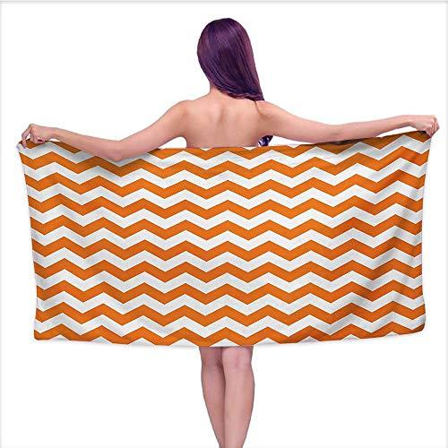 Bensonsve Black Bath Towels Chevron,Halloween Pumpkin Color Chevron Traditional Holidays Autumn Season Celebrate,Orange White,W28 xL55 for Toddlers -