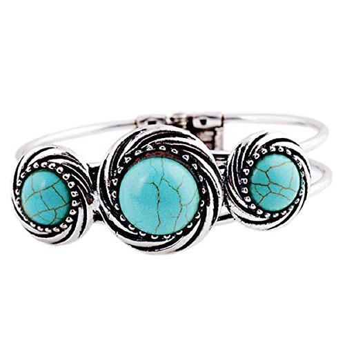Baishitop Retro Plating Lady Bracelet, Imitation Turquoise Circle Bohemian Style Bangle Bracelet