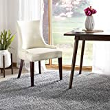 Cheap Safavieh Mercer Collection Eva Leather Dining Chair with Trim Nail Head, Cream