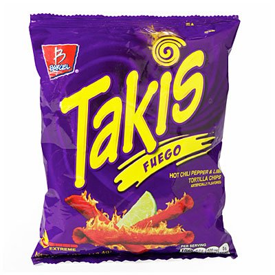 Takis Fuego Hot Chili Pepper & Lime Tortilla Chips (12 Pack - 2 Oz. Bags) by Barcel