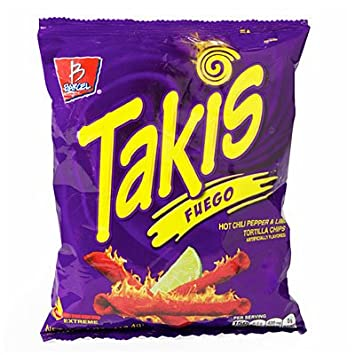 Amazoncom Takis Fuego Hot Chili Pepper Lime Tortilla Chips 12