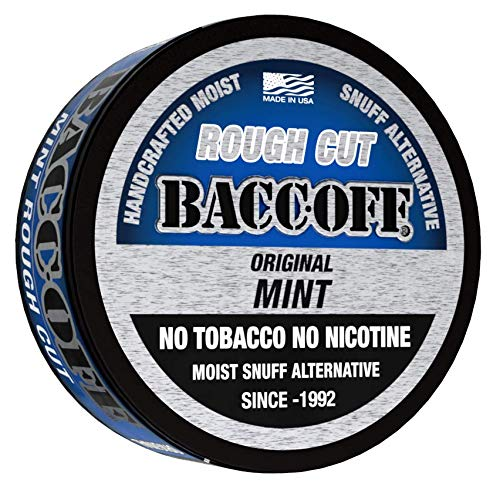 BaccOff, Original Mint Rough Cut, Premium Tobacco Free, Nicotine Free Snuff Alternative (10 Cans)
