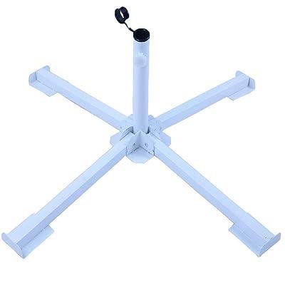 DDYOUTDOOR Foldable Tempered Iron Patio Sunshade Anchor Holder Umbrella Flagpole Stand Base White : Garden & Outdoor