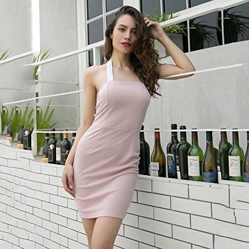 Abito M Donne Patchwork Sexy Del Bodycon colore Fasciatura Backless Partito Halter Rosa Diamondo 4tqFwB4