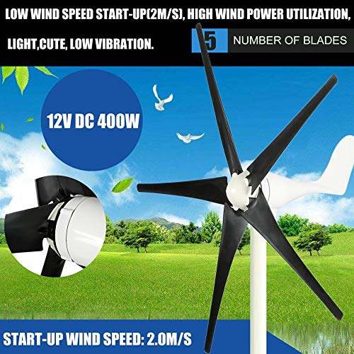 lOOkME-H Wind Turbine Windmill Generator Wind Energy Renewable Kit with Controller 5 Blades 400Watt 24V Marine, rv, Homes, Businesses and Industrial (24V)