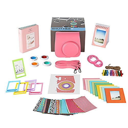 Fujifilm Instax Mini 9 Camera Accessories Bundle, Fuji 11 PC Kit Includes: FLAMINGO PINK Instax Case + Strap, 2 Albums, Filters, Selfie lens, Magnets + Hanging + Creative Frames, 60 stickers, Gift - Accessory Kit Fuji