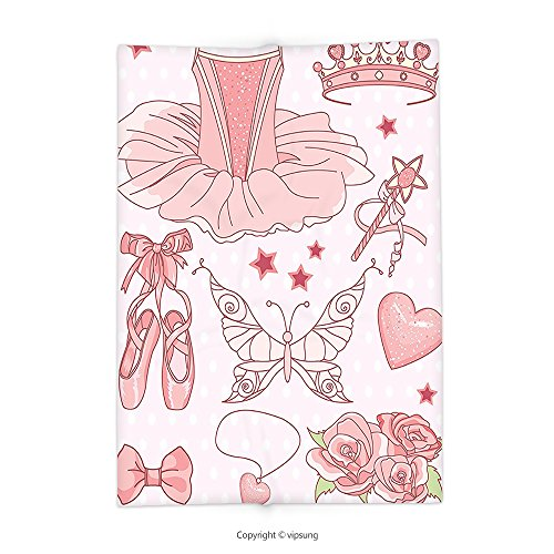 Custom printed Throw Blanket with Girls Decor Collection Set of Princess Ballerina Accessories Classic Costume Shoes Tiara Roses Image Pattern Pink Super soft and Cozy Fleece Blanket - Childrens Katy Perry Roar Costume