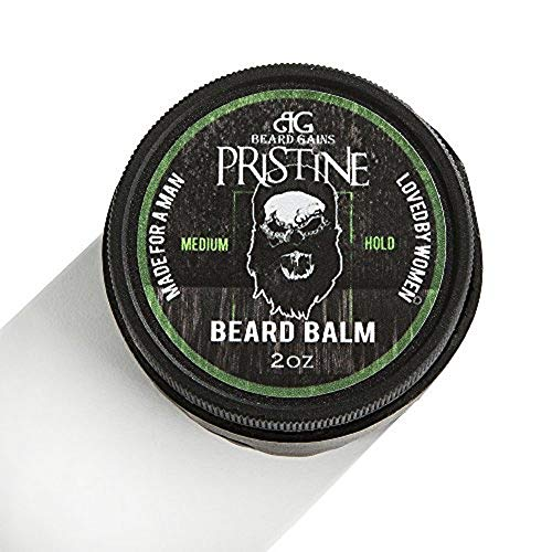 Beard Gains Pristine Luxury Mens Original Cologne Scented Beard Balm Conditioner - Medium Butter Hold - Made for A Man, Loved by Women (2oz)