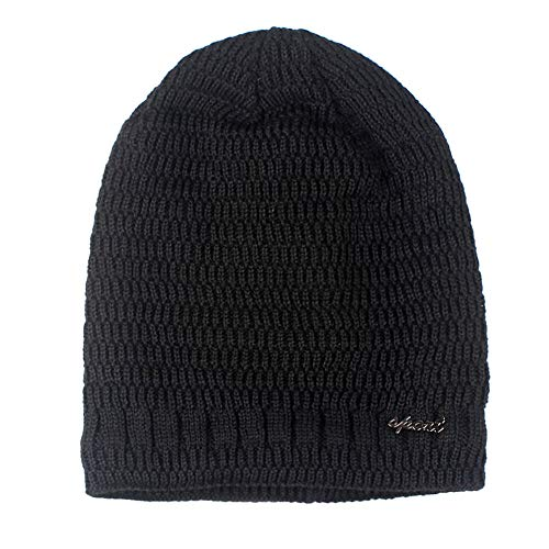 (LandFox Beanie Winter Hat,Mens Ladies Knitted Woolly Softex Oversized Slouch Beanie Hat Cap,Black,Polyester)