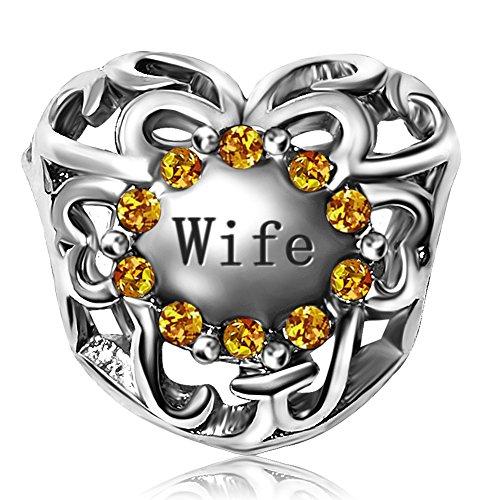JMQJewelry Heart Wife Birthstone Yellow November Love Crystal Rhinestone Charms Bead For Bracelets