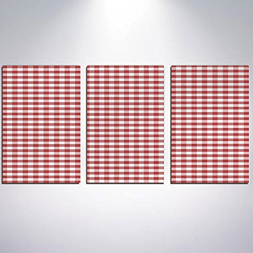 3 Panel Canvas Prints Wall Art for Home Decoration Checkered Print On Canvas Giclee Artwork For Wall DecorHorizontally Striped Design Gingham Inspired Old Fashioned Traditional (Framed Mini Gingham)