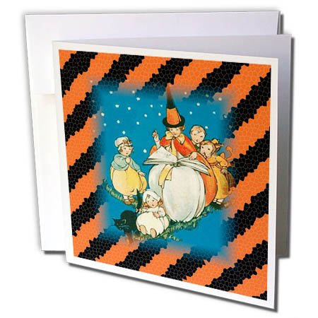 3dRose Halloween - Image of Vintage Style Halloween On Orange n Black Stripes - 6 Greeting Cards with envelopes (gc_262498_1)