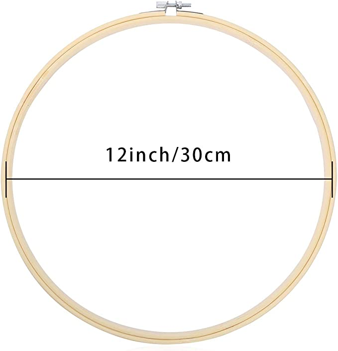 Caydo 12 Pieces 12 Inch Embroidery Hoops Wooden Round Adjustable Bamboo Circle Cross Stitch Hoop Ring Bulk Wholesale for Art Craft Handy Sewing