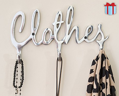 """Shabby Chic Style """"Clothes"""" Coat Rack Hooks by Comfify   Polished Metal Contemporary Wall Mount Clothing Hooks   4 Wall Hooks, Snappy Cursive Font Design, Makes Organizing Easy   Includes Screws"""