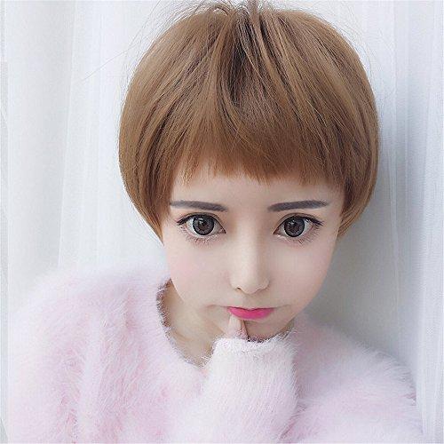 Womens Angelina Brown Wig (Prettybuy Unisex Boyish Synthetic Hair Short Straight Wig Kanekalon Futura Hair Wig, Color 3)