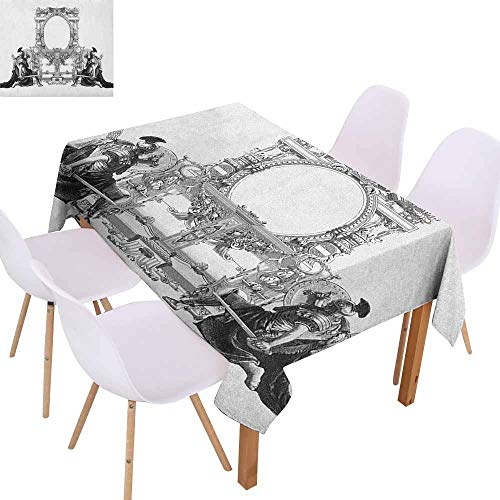 Waterproof Tablecloth Victorian Victorian Frame with a Gladiator Warrior Roman Headpiece Ancient Design Washable Tablecloth W60 xL84 Black and White