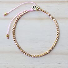 Beautiful adjustable friendship bracelet cotton string woven with gold plated on brass(Light Pink)