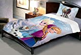 Uber Urban Disney Frozen Anna and Elsa 100% Cotton Cartoon single bedsheet with 1 pillow cover.