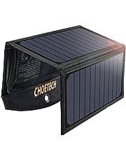 Cargador Panel Solar CHOETECH Cargador Solar Portátil 2 Puerto USB Batería Panel Solar Impermeables para iPhone, Samsung Galaxy, Huawei, Tablets y Otros Dispositivos Batería Plegable ( 19W )
