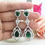 SELOVO-Silver-Tone-Vintage-Teardrop-Chandelier-Dangle-Earrings-with-Green-Cubic-Zirconia-Emerald-Color
