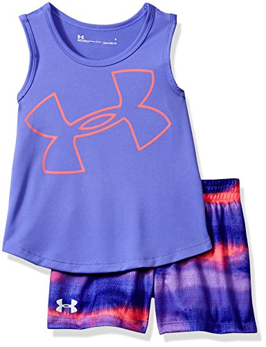 f914a8935f2e5 Under Armour Girls' Toddler UA Tank and Short Set, Violet Storm, 3T