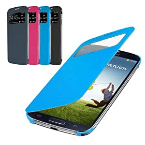 Rasfox Deluxe Leather Smart S-View Flip Cover Folio Wallet Case For Samsung Galaxy S4 LTE S IV i9500 ---- (Blue)