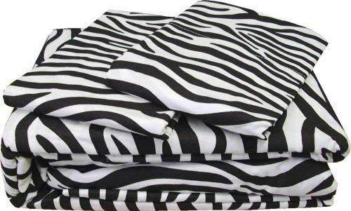 Chocolate Zebra Print - 100% Cotton Sheets, King Size Zebra Print Sheets Set, 400 Thread Count Long Staple Cotton, Sateen Weave Bedding Set - 4 Piece, Fits Mattress Upto 15'' DEEP Pocket