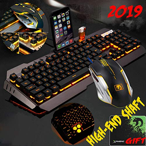 RONSHIN Computer Desktop Gaming Keyboard and Mouse Mechanical Feel LED Light Backlit