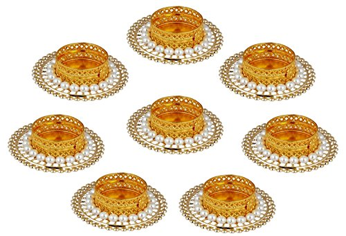 (Ramya Intricately Handcrafted Tealight Candle Holders - Set of 8 Pieces (7710-8) Ideal for Thanksgiving / Christmas Gifting)