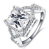 FENDINA Womens Jewelry 18K White Gold Plated Cubic Zirconia Infinity Princess Cut Band Size 7