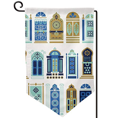 Hucuery Seasonal Garden Flag, Moroccan Doors Blue & Gold Palette Vertical Double-Sided 12.5 X 18 in Courtyard Decoration Durable, Lovely Gifts