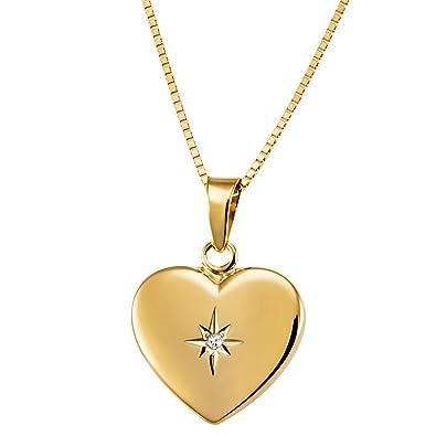 Goldmaid Women's 9 Carat Tri-Colour Gold Heart Necklace 45 cm XuJmC
