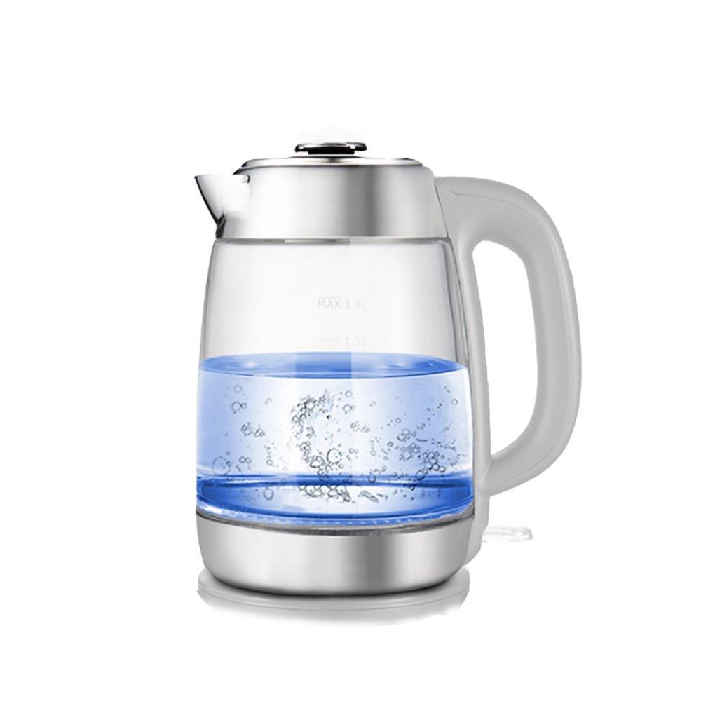 CAIXIA Wassertopf &Wasserkocher Edelstahl Glas Wasserkocher Automatik Abschaltung Schnell Heizung Haushalt Wasserkocher Schwarz / weiß (Größe: 195  135  245mm) Schnelles Kochen ( Farbe : Weiß )
