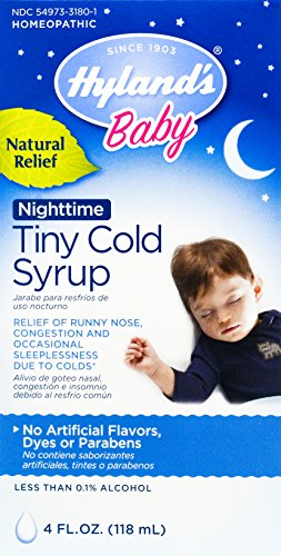 Hyland's Baby Nighttime Cold Syrup, Natural Relief of Runny Nose, Congestion, and Sleeplessness, 4 Ounces (Relief Syrup)