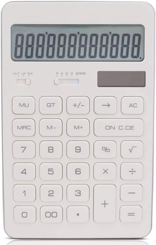 電卓 ビジネスデスク電卓ソーラーデュアルパワーカリキュレータ電卓デスクトップ電卓 ビジネス電卓 (色 : White, Size : 16.8x10.6cm)