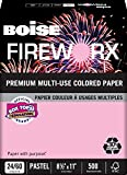 BOISE FIREWORX PREMIUM MULTI-USE COLORED PAPER, 8 1/2'' x 11'', Letter, Powder Pink, 24 lb., 5000 Sheets/Carton, 40 Cartons/Pallet