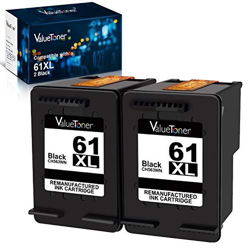 Valuetoner Remanufactured Ink Cartridge Replacement for HP 61XL 61 XL High Yield for Envy 4500 5530, Deskjet 2540 1056 1510 1000 1010, Officejet 4630 2620 4635 Printer (Black, 2 Pack)