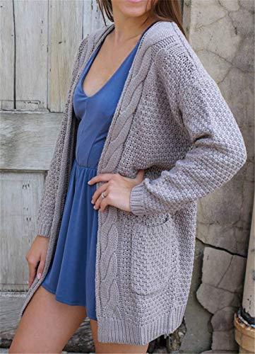 Long Mode Femme Kaki fashion Pullover Manches Unicolore Fille Automne Cardigan Classique Veste Printemps Poches en avec Baggy Ouvert Manteau Laisla en Loisir Tricot Tricot ZF6Fg