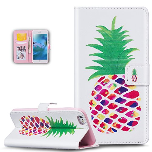 iPhone 6S Case,iPhone 6 Case,iPhone 6S/6 Case,ikasus Colorful Art Painted Pattern Premium PU Leather Fold Wallet Pouch Case Wallet Flip Stand Protective Case Cover for iPhone 6S/6,Colorful Pineapple