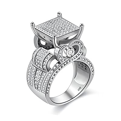 """Uloveido Womens 0.4"""" Wide Square Cluster Engagement Love Heart Architecture Ring Platinum Plated, Bridal Fashion Jewelry Stores RA0221"""