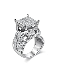 """Uloveido 0.4"""" Wide Square CZ Cluster Engagement Love Ring Platinum Plated Architecture Ring with Tiny Round Lab Diamond Ring Gifts (Size 6 7 8 9 10) RA0221"""