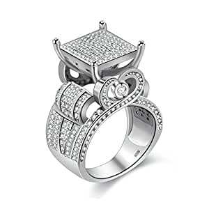 uloveido womens 0 4 wide square cluster engagement love heart