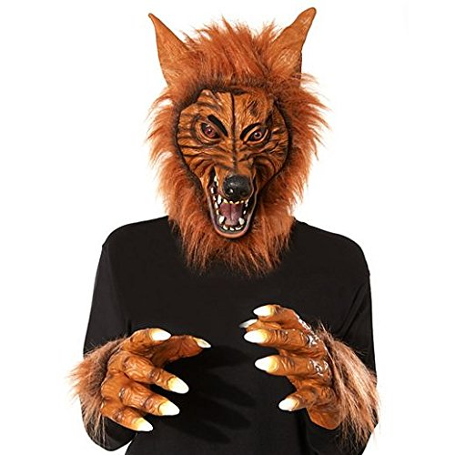 Costume Beautiful Brown Wolf Mask With Hands -