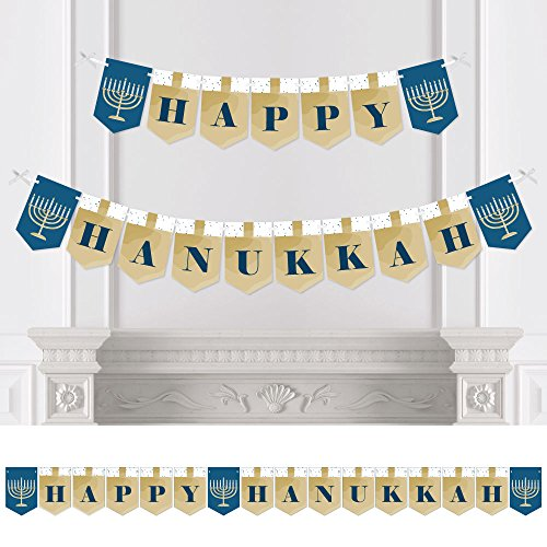 Happy Hanukkah - Chanukah Bunting Banner - Menorah Party Decorations (Paper Menorah)