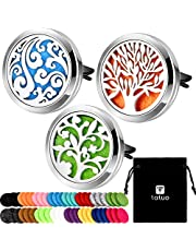 Tatuo 3 Pieces 316L Stainless Steel Car Aromatherapy Vent Clip Locket Essential Oil Diffuser Air Freshener and 48 Pieces Felt Pad for Car Decoration