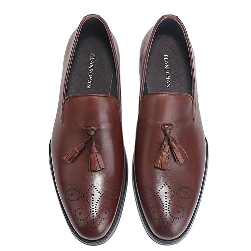Calfskin Leather Loafers - ELANROMAN Men's Loafers Dress Shoes Calfskin Engraved Flowers Comfort Formal Penny Loafer Shoes Leather Black Brown