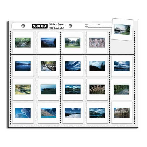 VUE-ALL ARCHIVAL 100 PAGE PACK 35mm FORMAT HEAVYWEIGHT 2X2 LEFT LOAD SLIDE PAGES WITH IND.WRITE ON AREA