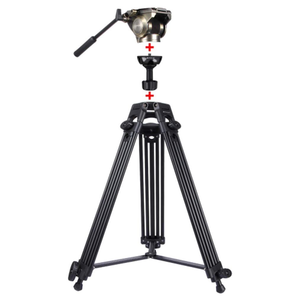 アルミ合金の三脚、3イン1の頑丈なビデオカメラのカメラ装置の安定した振動防止の滑り止めのマルチアングルの射撃、調節可能な高さ:62-152Cm,Gold  Gold B07SLQJJ79