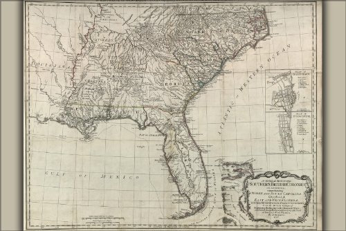 24x36 Poster; Map Georgia Florida North & South Carolina 1776; Antique Reprint - South Carolina Antiques