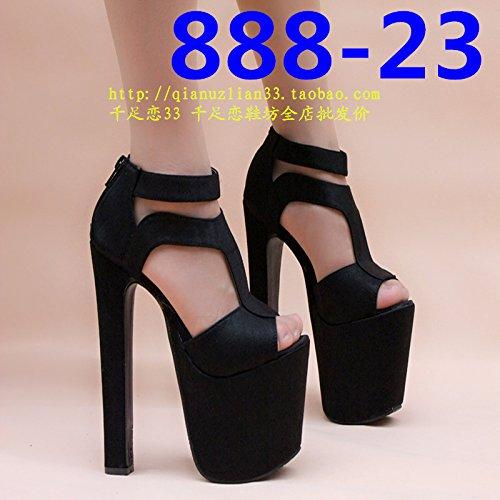 XiaoGao 18 cm. super tienda de zapato de tacon sandalias de damas de noche,888-23 negro